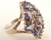 Size 9.5 Vintage Sterling Blue Iolite Cocktail Ring