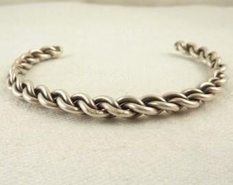 Vintage Sterling Braided Rope Bracelet