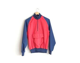 Size M // COLORBLOCK ANORAK // Vintage '80s Pacific Trail Jacket - Red & Navy Blue - Men's.