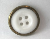 Brass Rimmed White China Button