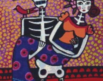 Cross Stitch Pattern, Heather Galler,  'Day of the Dead Frida Kahlo' Day of the Dead Cross Stitch, Cross Stitch KIT, Counted Cross stitch