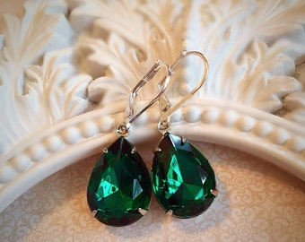 Emerald Earrings - Holiday Party Jewelry - Art Deco Jewelry - Silver Emerald Jewelry - CAMBRIDGE Emerald
