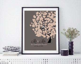 Personalized Anniversary Gift Mr and Mrs gift Romantic Gift 1st Anniversary Gift, Tree with Lovebirds Couples Name Custom Love Hearts Print