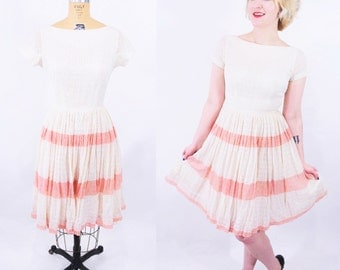 1950s lace dress | cream pink stripe lace darling party dress | vintage 50s dress | W 25""