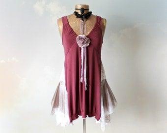 Long Tunic Top Burgundy Boho Shirt Romantic Clothing Shabby Tank Top Bohemian Gypsy Lagenlook Clothes Lace Shirt Eco Friendly M L 'TEIGAN'