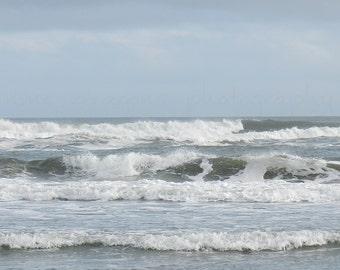 Blue Beach Photography, Nature Photography, Ocean Art, White Caps Ocean Photography, Shore Decor, Twilight Beach, Evening Sunset Ocean Print