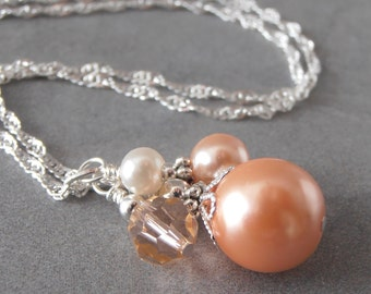 Peach Bridesmaid Jewelry Wedding Jewelry Pearl Cluster Necklace Bridesmaid Necklaces Bead Pendant  Handmade Wedding Sets Peach Jewelry