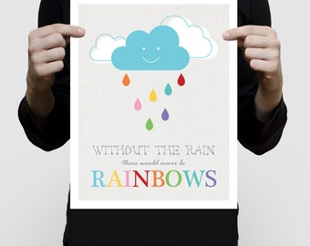 colourful kids art - without the rain there would never be rainbows - print,cloud, nursery decor, children's wall art, baby girl boy, shower