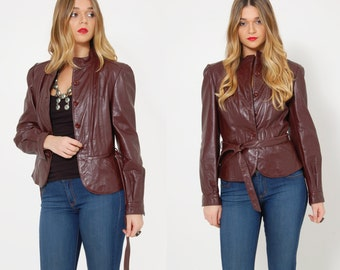 Vintage 70s Leather Jacket CROPPED Leather Jacket Oxblood Leather Boho Jacket BELTED Crop Jacket Fitted Hippie Short Jacket