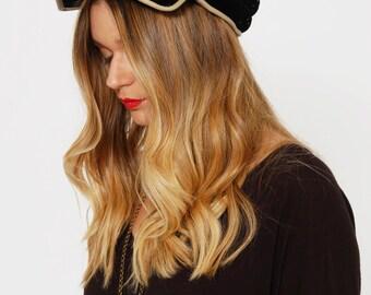 Vintage 60s NEWSBOY Hat EMME Boutique Hat Mod DRIVING Hat Black Velour Hat with Bow Slouchy Hat
