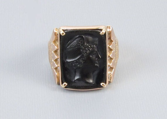 Mans antique Victorian 10k rose gold black onyx Mercury cameo ring, size 9