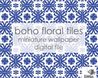 "Digital Download ""Boho Floral Tiles"" - miniature dollhouse wallpaper"