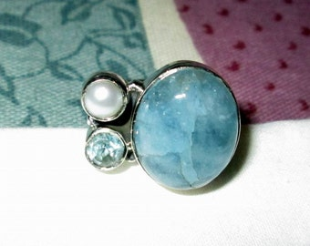 RING - AQUAMARINE  - Blue TOPAZ- Pearl - 925 - Sterling Silver  - size 7 3/4  blue 319
