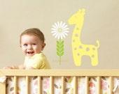 Giraffe Wall Decal - baby animal nursery decoration - giraffe with daisy flower decal - vinyl giraffe wall sticker - vinyl decals for baby