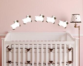 Sheep wall decal - set of 5 - Baby Girl Nursery wall decor - Lamb Sheep wall decal - Sheep - Little Lamb - Baby wall decor - white sheep