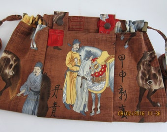KNITTING BAG APRON - Ready to Ship - Uma Phillip de Leon Alexander Henry 1998 Rare Asian Border Print Fabric