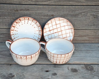 Stoneware rustic Tea Cups with saucers - BROWN  -set of 2 - Rustic cream with brown decoration -  Handmade Ceramics