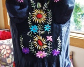 Mexican Top, Party Top, Embroidered Mexican, Strapless top, Floral Top, Gypsy Blouse, size  36