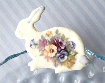 Rabbit Brooch. Pansies. Porcelain. Bunny. Hare. Colorful. Purple. Blue. Yellow. Mauve. Violet. Shabby Chic. Whimsical. Easter. Large Pin