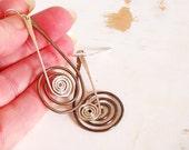 Spiral Earrings, Mixed Metal Jewelry, Oxidised Copper, Sterling Silver Earrings, Kinetic Jewelry, Long Dangle Earrings, Copper Wire Jewelry