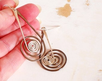 Copper and Silver Spiral Earrings, Metalwork Earrings, Kinetic Jewellery, Copper Wire Jewelry, Hand Forged Earrings, Mixed Metal Earrings