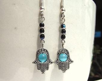 Hamsa Hand Earrings Hand of Fatima Hand of Miriam Dangle Earrings
