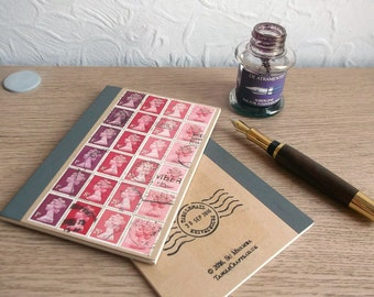 Retro Red A6 Notebook   British Travel Journal   lined writing journal   upcycled GB Machin postage stamps   gift for penpal, writer, office