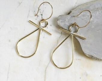 Gold Dangle Earrings. Brass Earrings. Teardrops. Gold Fill. Brass Teardrop Earrings. Geometric Dangles. Long Brass Earrings. Modern Bohemian