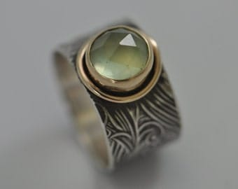 peridot ring, silver and gold band, wedding ring, statement ring, wide band ring, birthstone ring, cocktail ring, eco friendly ring
