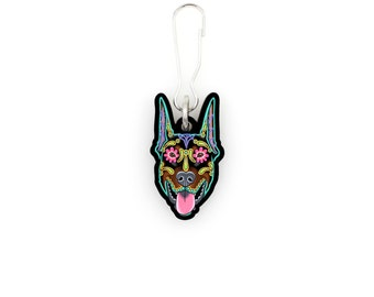 SALE Regularily 7.95 - Doberman - Cropped Ear Edition - Collar Charm / Key Chain / Zipper Pull - Day of the Dead Sugar Skull Dog