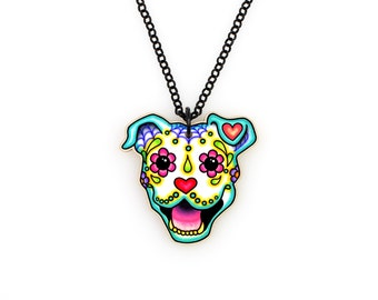 Smiling Pit Bull - Day of the Dead Sugar Skull Dog Necklace - THE ORIGINAL Pitbull Calavera