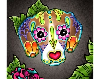 "SALE Regularly 14.95 - Beagle - Day of the Dead Sugar Skull Dog 8"" x 10"" Art Print"