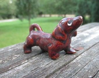 Vintage Redware Miniature Dachshund--Doxie Dog--Shabby Doggy--Mid Century Kitsch--Cottage Chic Kitschy--Fairy Garden--Terrarium Decor