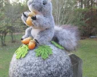 Quirky Grey Squirrel with Acorns atop a Crocheted Grey Ball--Zany Woodland Animal Decoration--Unusual Tabletop Centerpiece--OOAK Fun Furry