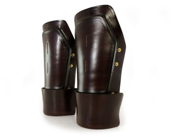 "STEAMPUNK LEATHER bracers molded brown leather ""Enforcer"""