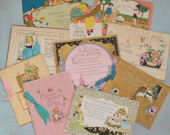 10 Art Deco Birthday Cards Booklets Children Hand Painted Flowers