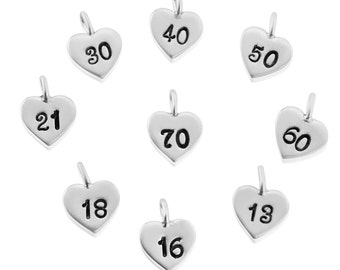 Silver Heart Charm with Numbers