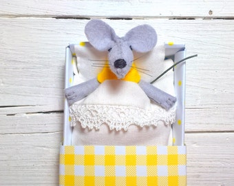 Tiny animal plush stuffed animals felt playset tiny felt mouse in a matchbox yellow miniature bed woodland critters  woods collectible dolls