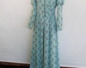 On Hold for Tea 50s Vintage Rayon Hostess Gown Dressing Robe Aqua + Brown Fawn Deer Print Gigot Sleeve Full Length Split Skirt Bust 36