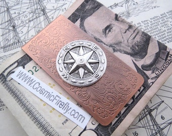 Steampunk Money Clip Copper Money Clip Compass Money Clip North South East West Men's Gifts Nautical Gifts For Men Father's Day NEW!