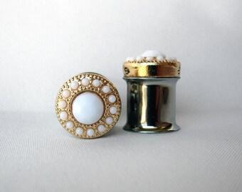 "Pair of Gold and Ivory Feminine Plugs - Handmade Girly Gauges - 8g, 6g, 4g, 2g, 0g, 00g, 7/16"" (3mm, 4mm, 5mm, 6mm, 8mm, 10mm, 11mm)"