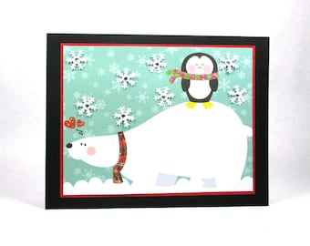 Polar bear holiday card, Christmas cards, happy holidays, seasons greetings, penguin cards, snowflakes, holiday cards
