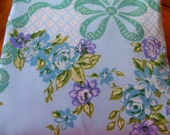 Moving Sale!  Vintage Blue and Lilac Roses Scrolls Bows Full Double Flat Sheet