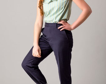 Reconstructed Top from menshirt, GreenBlue Stripe, Size 36