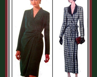 Chic FRONT WRAP DRESS-Vogue Sewing Pattern-Two Styles-Side Bow Tie-Optional Contrast Collar-Feminine Fit-Uncut-Size 8-12-Rare