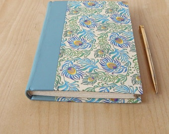 Aqua Peacock Journal with leather quarter binding.  Hardcover journal. Handmade book. Mother's Day Gift
