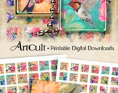 """1""""x1"""" (25 mm) and 7/8""""x7/8"""" images HUMMINGBIRDS Printable sheets for square glass / resin pendants, magnets, bezel settings. ArtCult designs"""
