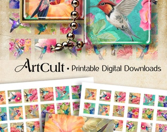 "1""x1"" (25 mm) and 7/8""x7/8"" images HUMMINGBIRDS Printable sheets for square glass / resin pendants, magnets, bezel settings. ArtCult designs"