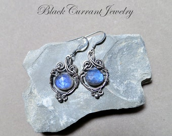 Small Blue Fire Labradorite and Sterling Silver Earrings - Antiqued Wire