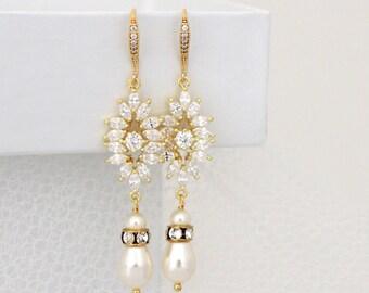 Gold Bridal earrings, Crystal Wedding earrings, Dangle earrings, Wedding jewelry, Pearl earrings, CZ earrings, Art deco earrings, EMMA
